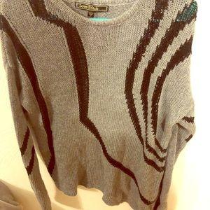 Grey Sweater with Black Design